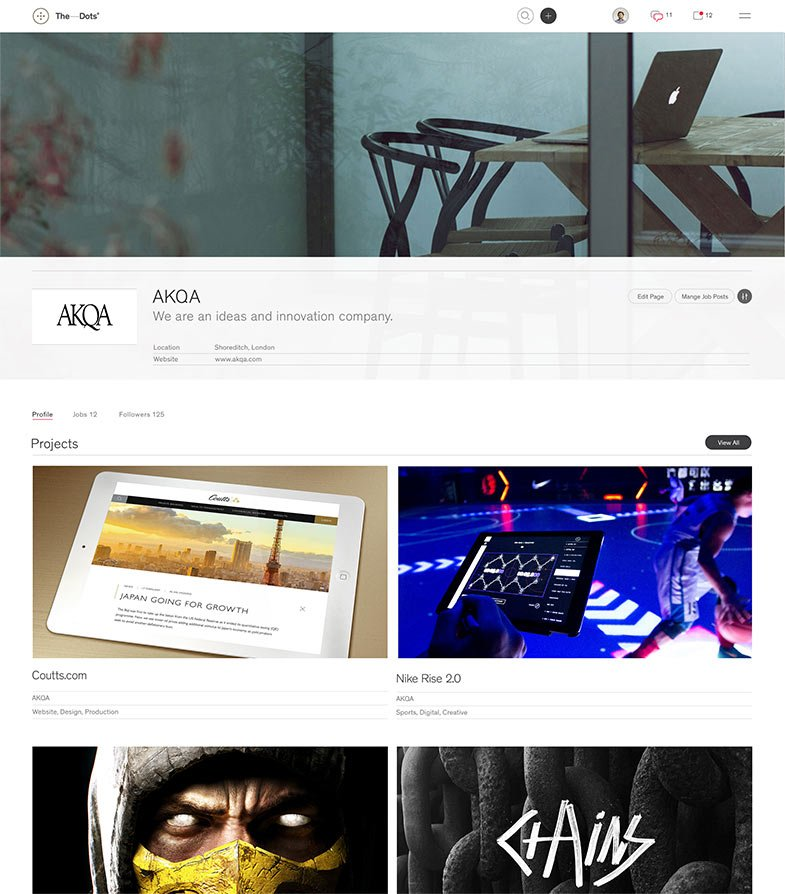 First half of AKQA's company page, showing their hero image, header with details, and their list of projects