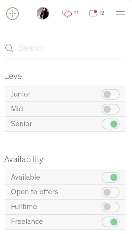 Mobile version of People page with search field and the level and availability toggle filters